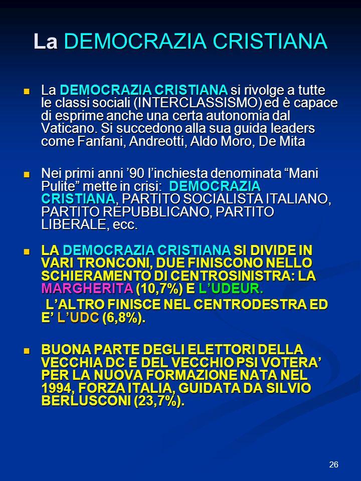 26 La DEMOCRAZIA CRISTIANA La DEMOCRAZIA CRISTIANA si rivolge a tutte le classi sociali (INTERCLASSISMO) ed è capace di esprime anche una certa autonomia dal Vaticano.