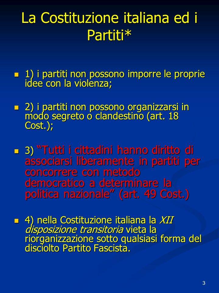 3 La Costituzione italiana ed i Partiti* 1) i partiti non possono imporre le proprie idee con la violenza; 1) i partiti non possono imporre le proprie