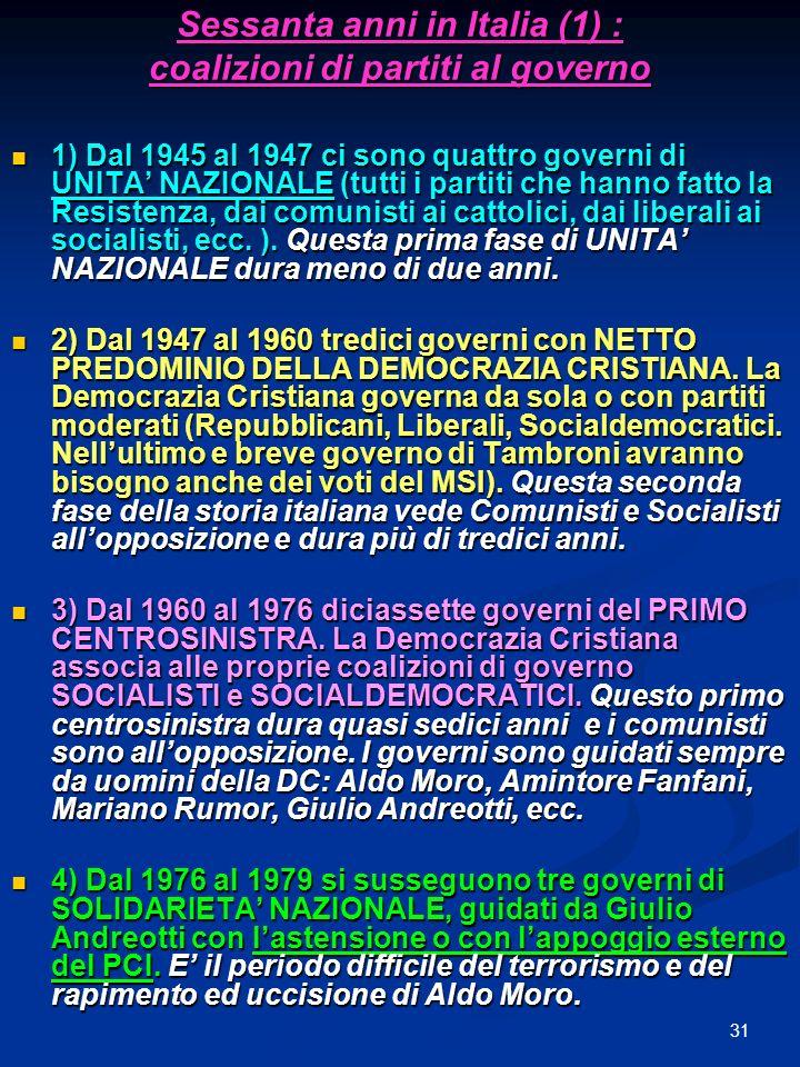 31 Sessanta anni in Italia (1) : coalizioni di partiti al governo 1) Dal 1945 al 1947 ci sono quattro governi di UNITA NAZIONALE (tutti i partiti che hanno fatto la Resistenza, dai comunisti ai cattolici, dai liberali ai socialisti, ecc.