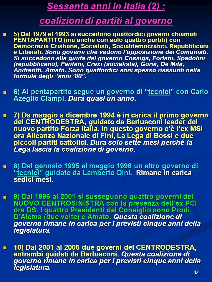 32 Sessanta anni in Italia (2) : coalizioni di partiti al governo 5) Dal 1979 al 1993 si succedono quattordici governi chiamati PENTAPARTITO (ma anche