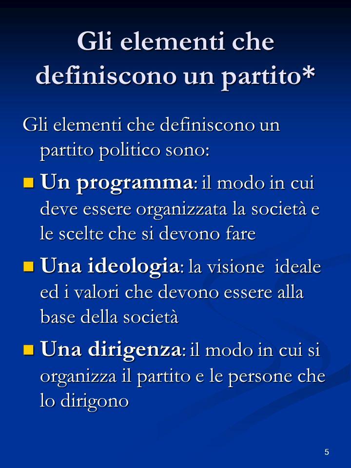 5 Gli elementi che definiscono un partito* Gli elementi che definiscono un partito politico sono: Un programma : il modo in cui deve essere organizzat