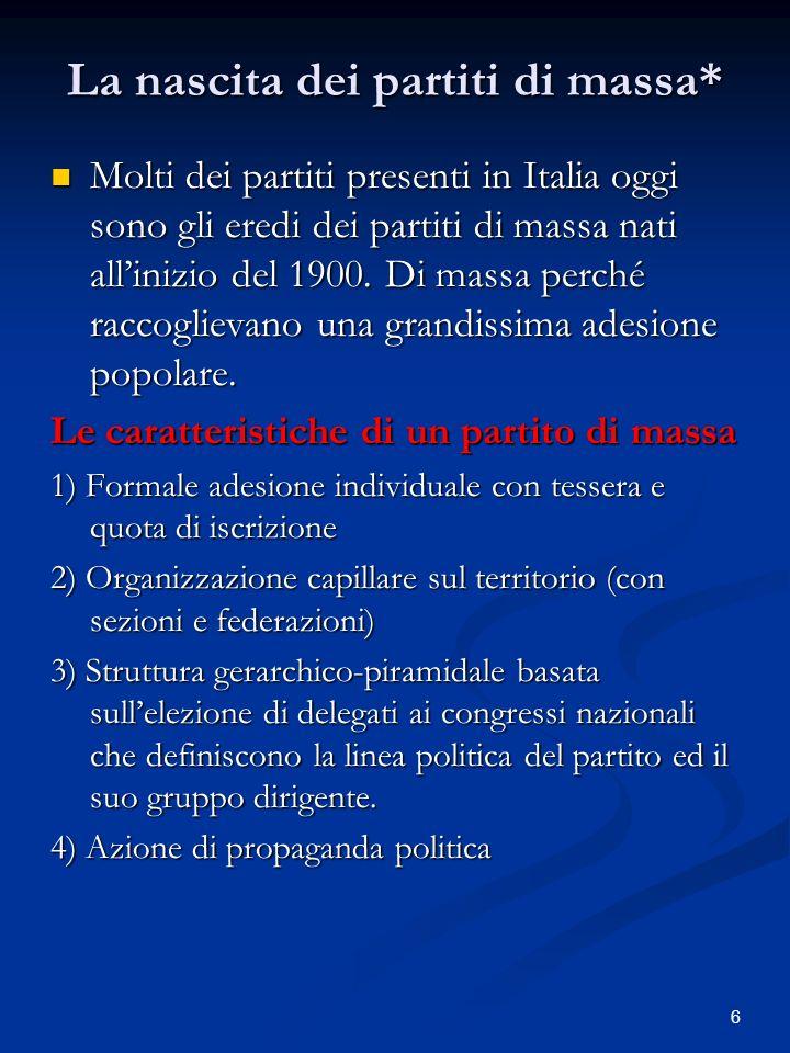 6 La nascita dei partiti di massa* Molti dei partiti presenti in Italia oggi sono gli eredi dei partiti di massa nati allinizio del 1900. Di massa per
