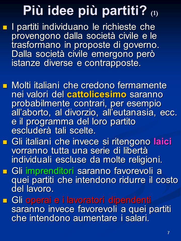 7 Più idee più partiti? (1) I partiti individuano le richieste che provengono dalla società civile e le trasformano in proposte di governo. Dalla soci