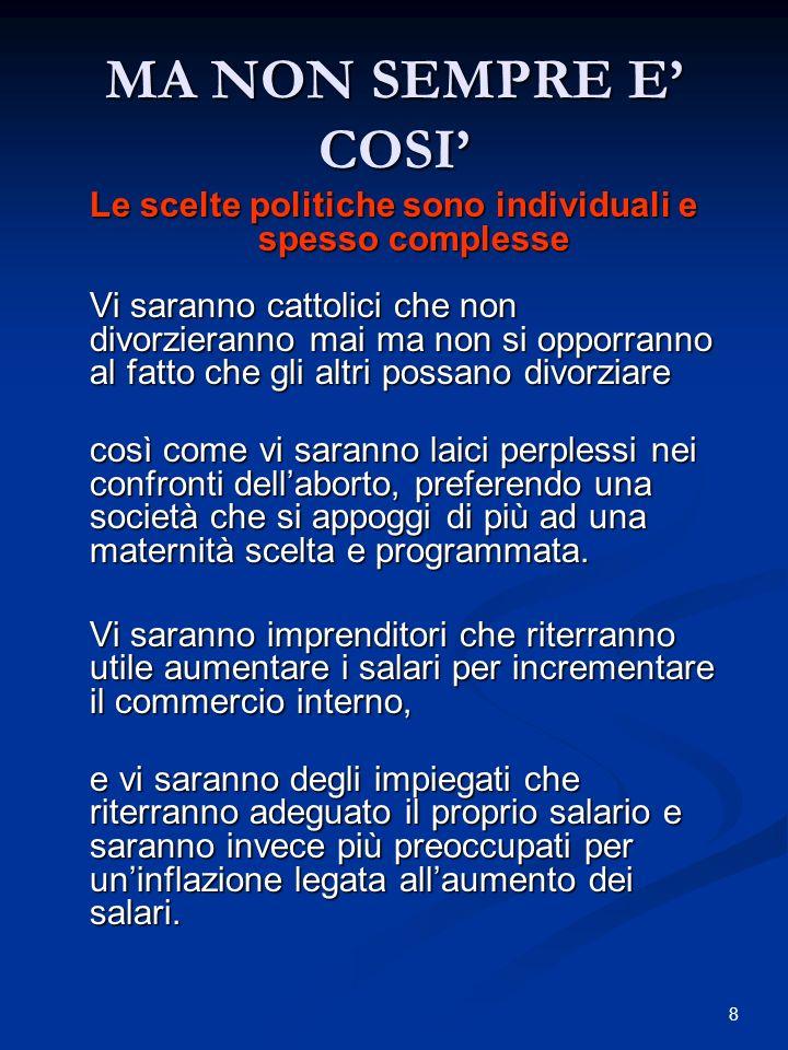 8 MA NON SEMPRE E COSI Le scelte politiche sono individuali e spesso complesse Vi saranno cattolici che non divorzieranno mai ma non si opporranno al