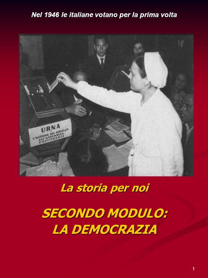 1 La storia per noi SECONDO MODULO: LA DEMOCRAZIA Nel 1946 le italiane votano per la prima volta