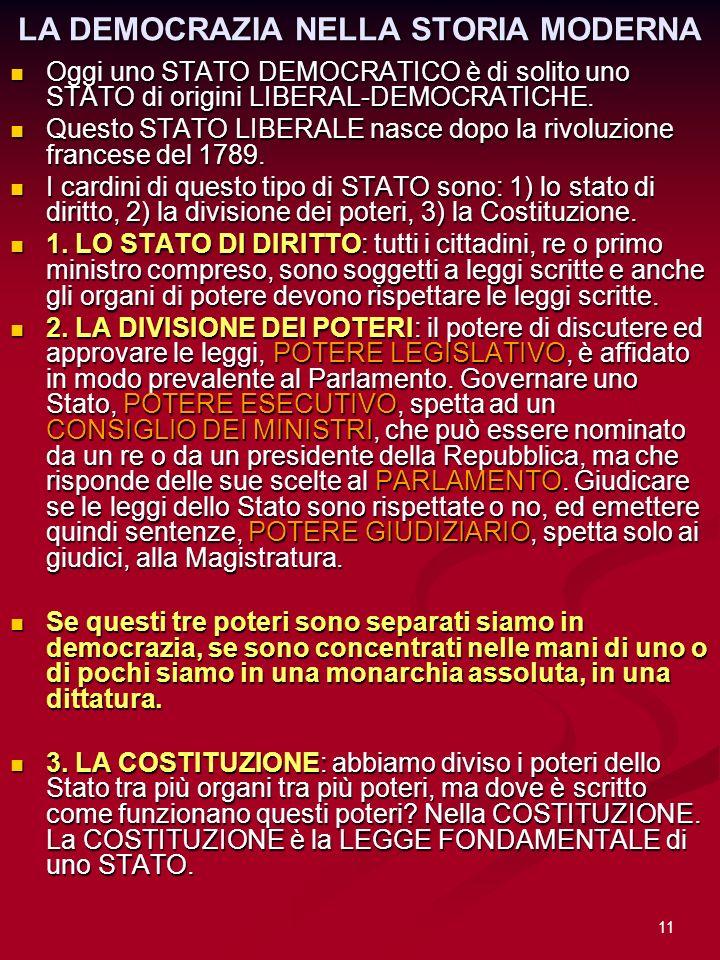 11 LA DEMOCRAZIA NELLA STORIA MODERNA Oggi uno STATO DEMOCRATICO è di solito uno STATO di origini LIBERAL-DEMOCRATICHE. Oggi uno STATO DEMOCRATICO è d