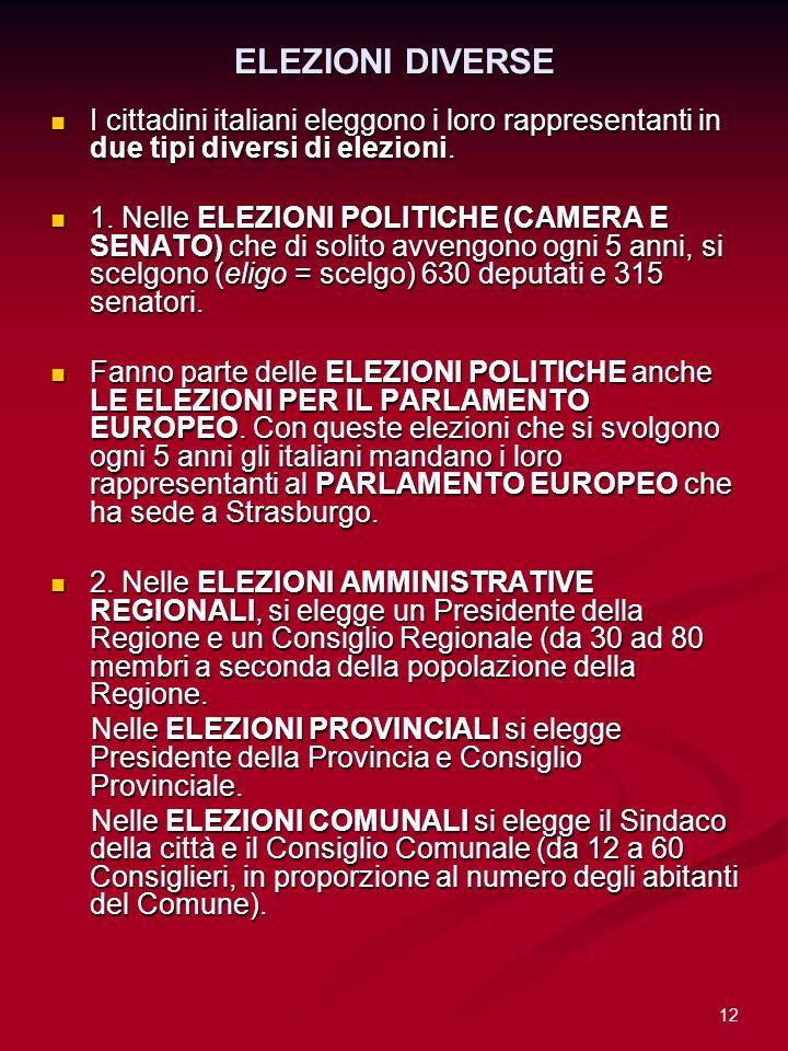 12 ELEZIONI DIVERSE I cittadini italiani eleggono i loro rappresentanti in due tipi diversi di elezioni. I cittadini italiani eleggono i loro rapprese