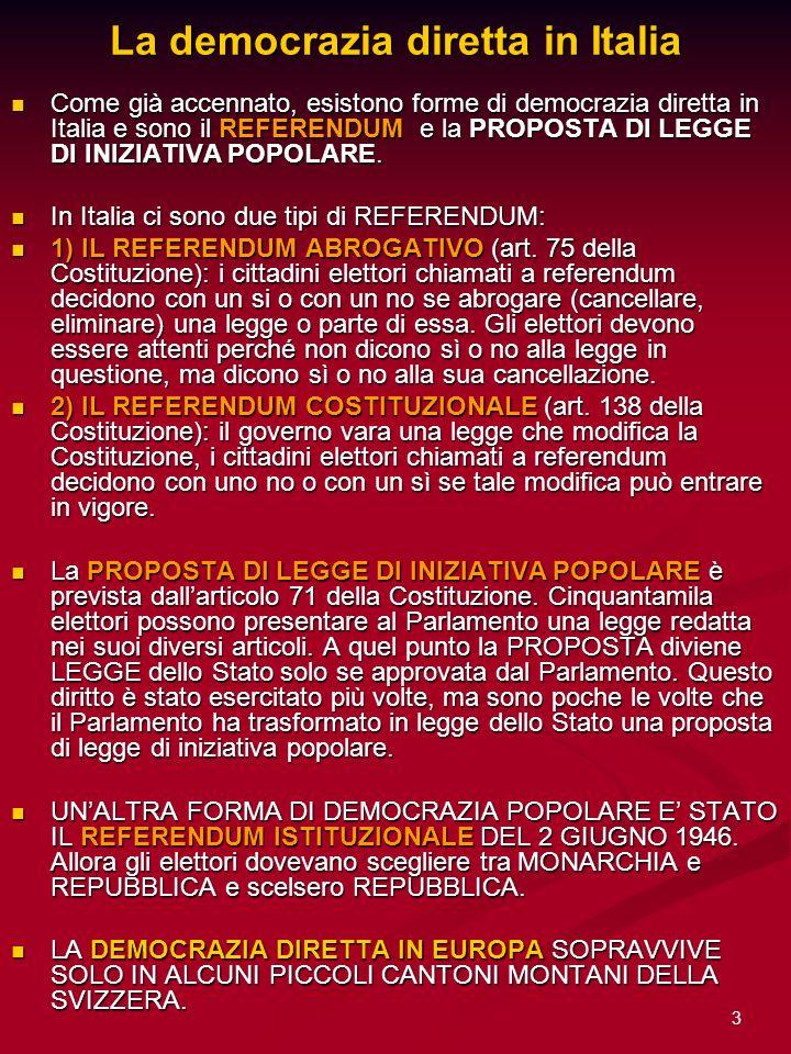 3 La democrazia diretta in Italia Come già accennato, esistono forme di democrazia diretta in Italia e sono il REFERENDUM e la PROPOSTA DI LEGGE DI IN