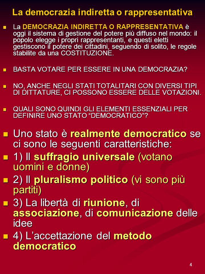 4 La democrazia indiretta o rappresentativa La DEMOCRAZIA INDIRETTA O RAPPRESENTATIVA è oggi il sistema di gestione del potere più diffuso nel mondo: