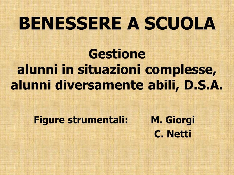 BENESSERE A SCUOLA Gestione alunni in situazioni complesse, alunni diversamente abili, D.S.A. Figure strumentali:M. Giorgi C. Netti