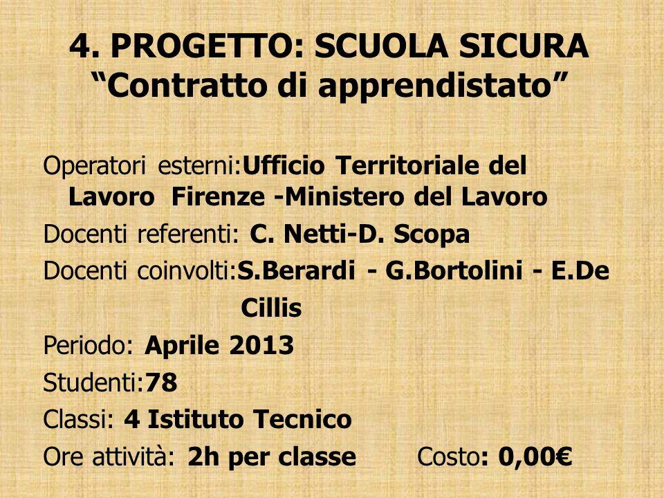 4. PROGETTO: SCUOLA SICURA Contratto di apprendistato Operatori esterni:Ufficio Territoriale del Lavoro Firenze -Ministero del Lavoro Docenti referent