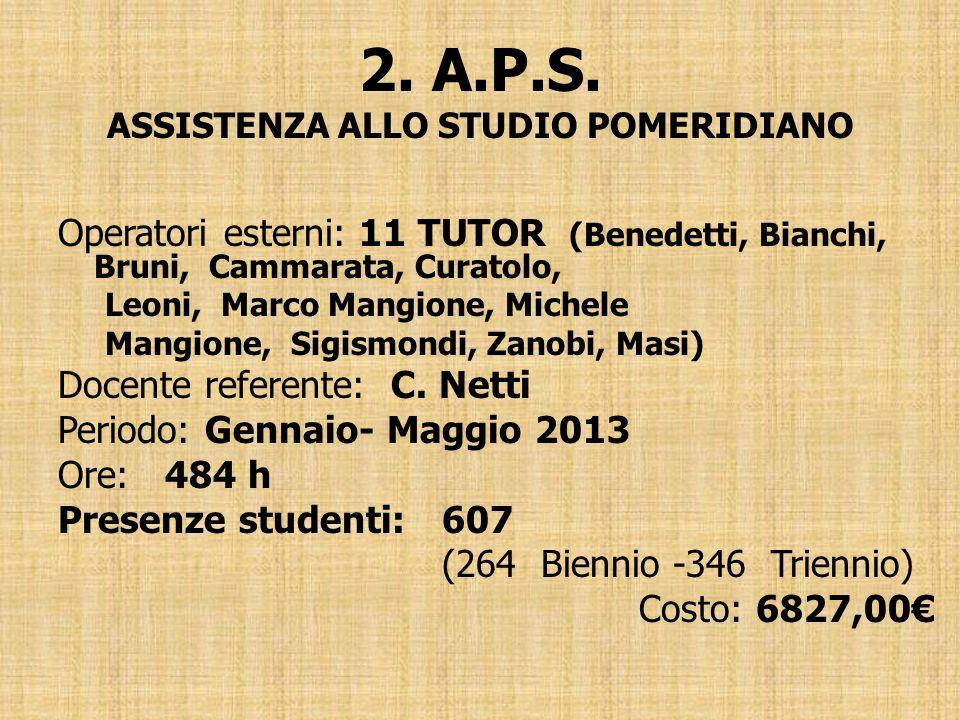 2. A.P.S. ASSISTENZA ALLO STUDIO POMERIDIANO Operatori esterni: 11 TUTOR (Benedetti, Bianchi, Bruni, Cammarata, Curatolo, Leoni, Marco Mangione, Miche