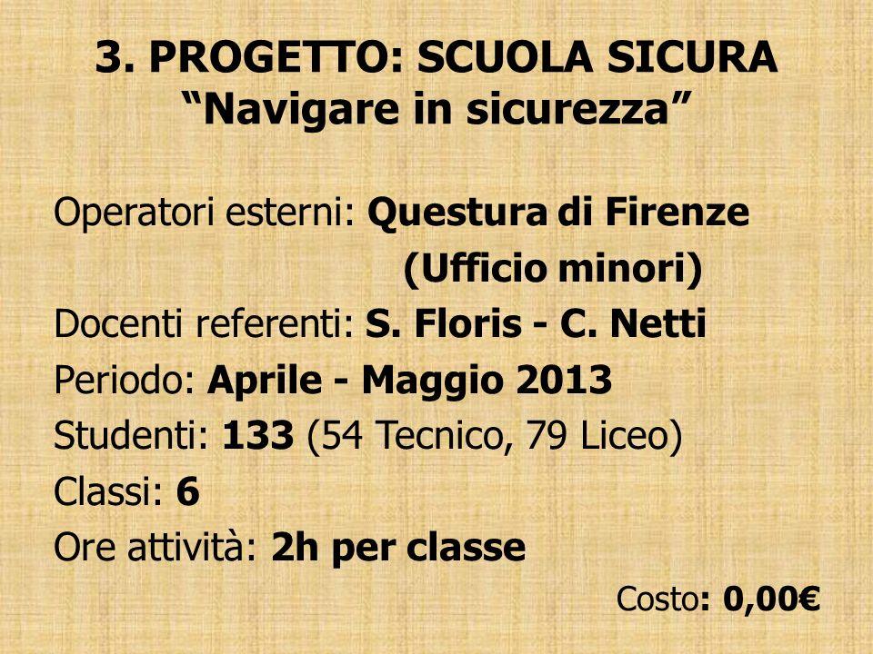 3. PROGETTO: SCUOLA SICURA Navigare in sicurezza Operatori esterni: Questura di Firenze (Ufficio minori) Docenti referenti: S. Floris - C. Netti Perio