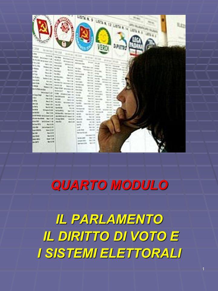 22 Il sistema maggioritario 2 * questo sistema limita il numero dei partiti perche non e facile avere la maggioranza in un seggio.