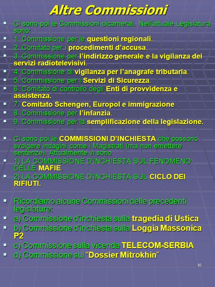10 Altre Commissioni Ci sono poi le Commissioni bicamerali. Nellattuale Legislatura sono: Ci sono poi le Commissioni bicamerali. Nellattuale Legislatu