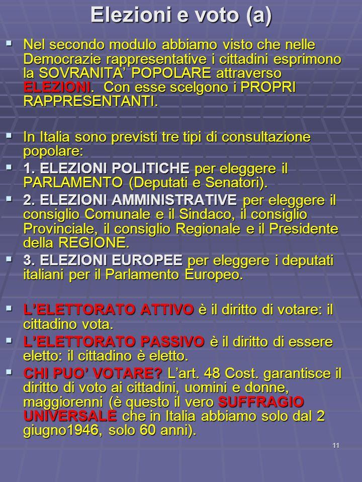 11 Elezioni e voto (a) Nel secondo modulo abbiamo visto che nelle Democrazie rappresentative i cittadini esprimono la SOVRANITA POPOLARE attraverso EL