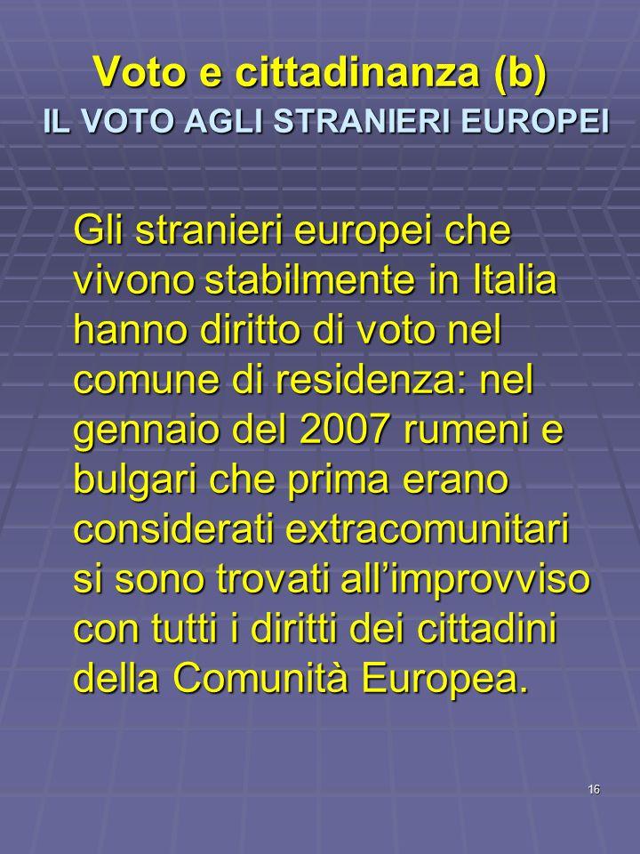 16 Voto e cittadinanza (b) IL VOTO AGLI STRANIERI EUROPEI Gli stranieri europei che vivono stabilmente in Italia hanno diritto di voto nel comune di r