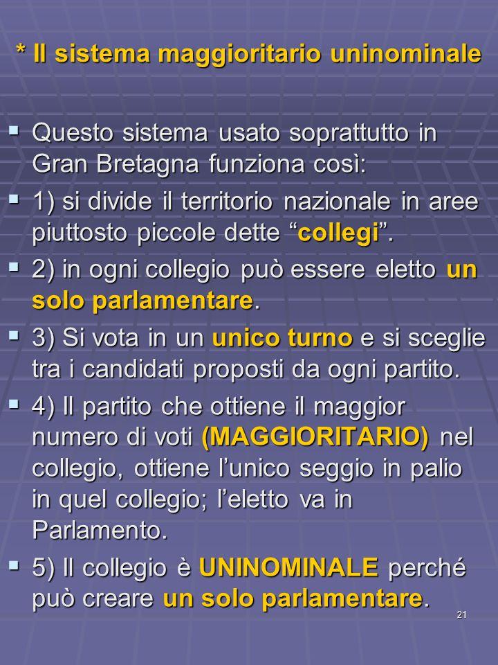 21 * Il sistema maggioritario uninominale Questo sistema usato soprattutto in Gran Bretagna funziona così: Questo sistema usato soprattutto in Gran Br