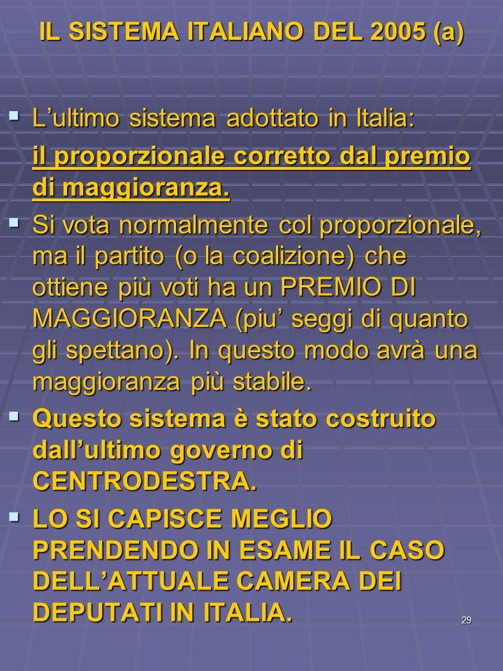 29 IL SISTEMA ITALIANO DEL 2005 (a) Lultimo sistema adottato in Italia: Lultimo sistema adottato in Italia: il proporzionale corretto dal premio di ma
