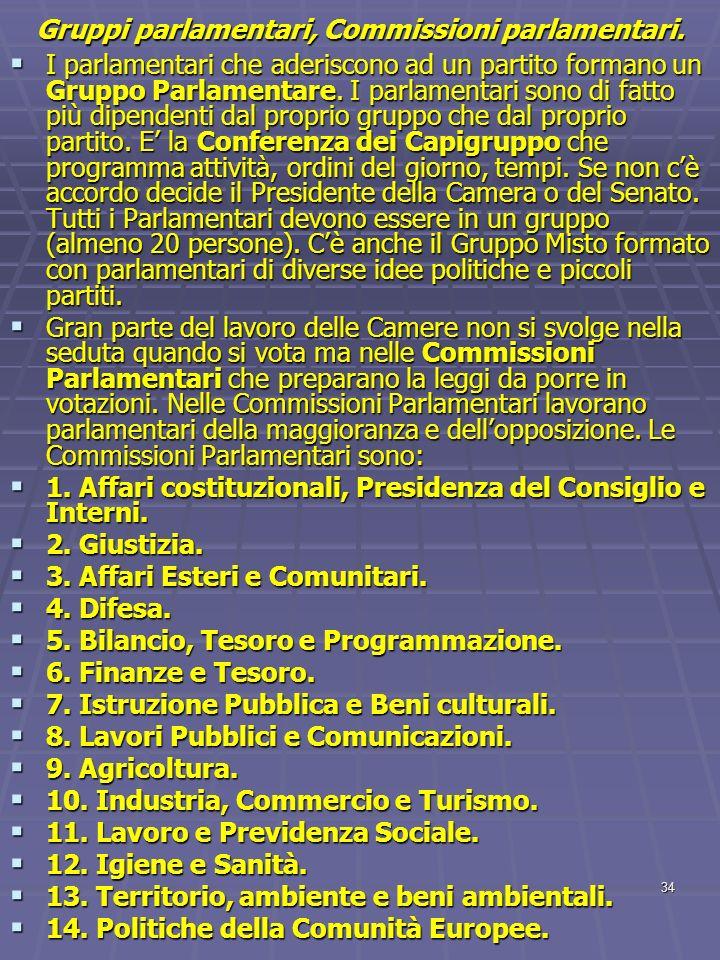 34 Gruppi parlamentari, Commissioni parlamentari. I parlamentari che aderiscono ad un partito formano un Gruppo Parlamentare. I parlamentari sono di f