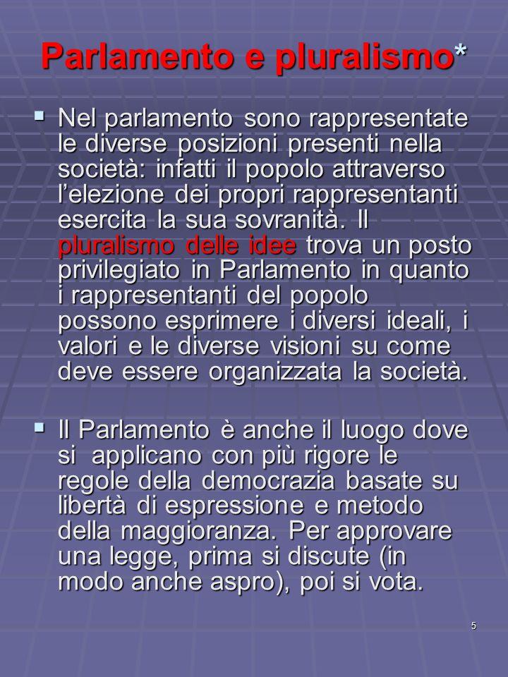 5 Parlamento e pluralismo * Nel parlamento sono rappresentate le diverse posizioni presenti nella società: infatti il popolo attraverso lelezione dei