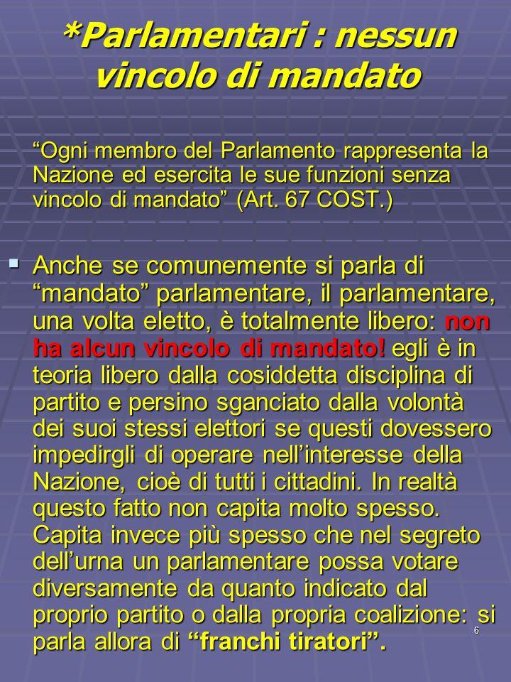 6 *Parlamentari : nessun vincolo di mandato Ogni membro del Parlamento rappresenta la Nazione ed esercita le sue funzioni senza vincolo di mandato (Ar