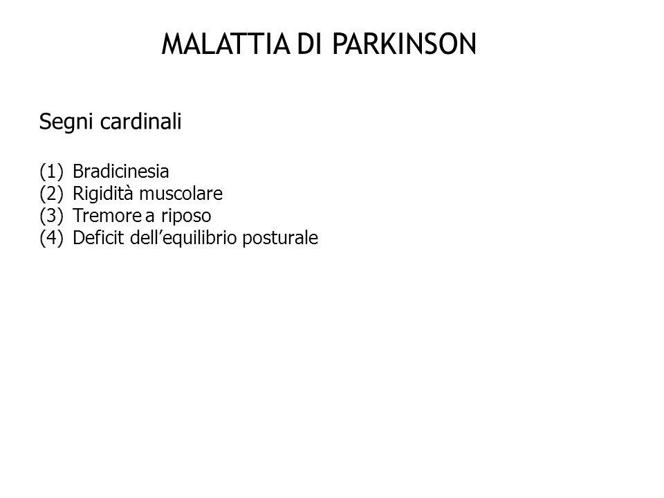 MALATTIA DI PARKINSON Segni cardinali (1)Bradicinesia (2)Rigidità muscolare (3)Tremore a riposo (4)Deficit dellequilibrio posturale