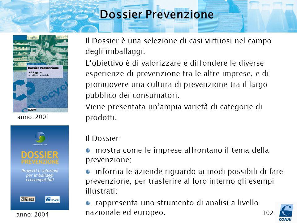 102 Dossier Prevenzione Il Dossier è una selezione di casi virtuosi nel campo degli imballaggi. Lobiettivo è di valorizzare e diffondere le diverse es