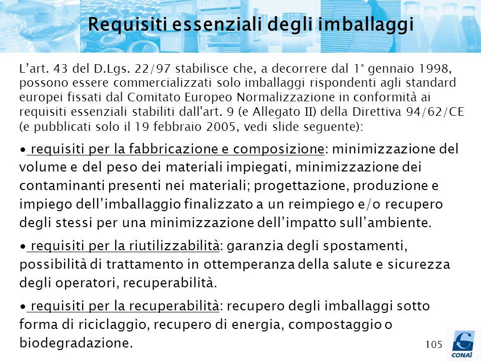 105 Requisiti essenziali degli imballaggi Lart. 43 del D.Lgs. 22/97 stabilisce che, a decorrere dal 1° gennaio 1998, possono essere commercializzati s