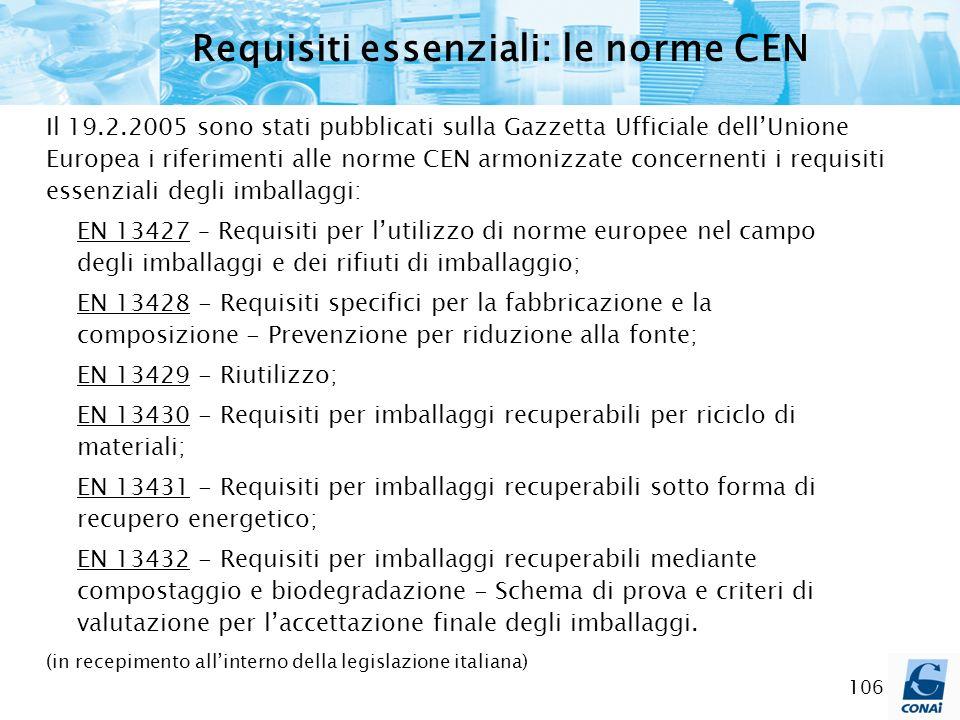 106 Requisiti essenziali: le norme CEN Il 19.2.2005 sono stati pubblicati sulla Gazzetta Ufficiale dellUnione Europea i riferimenti alle norme CEN arm