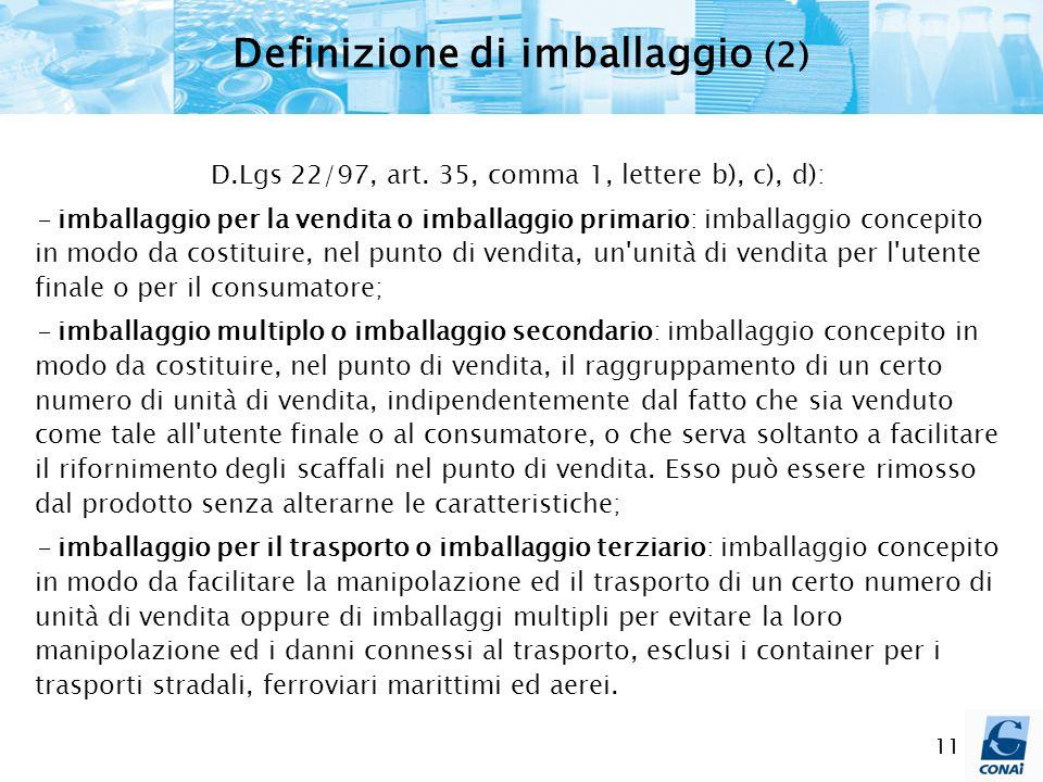 11 Definizione di imballaggio (2) D.Lgs 22/97, art. 35, comma 1, lettere b), c), d): - imballaggio per la vendita o imballaggio primario: imballaggio