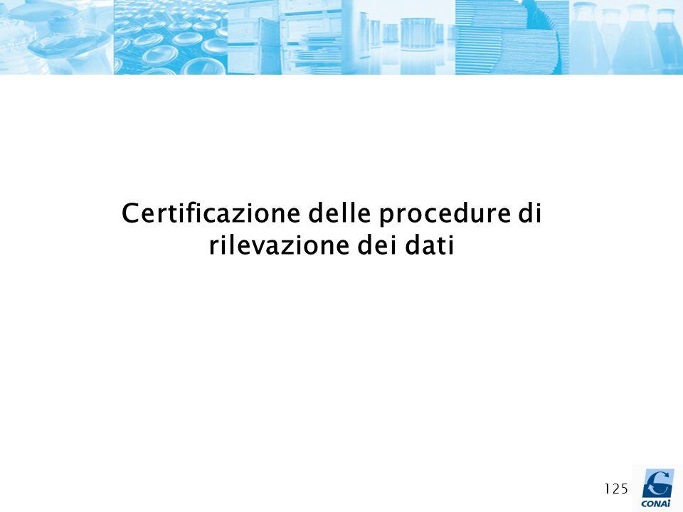 125 Certificazione delle procedure di rilevazione dei dati