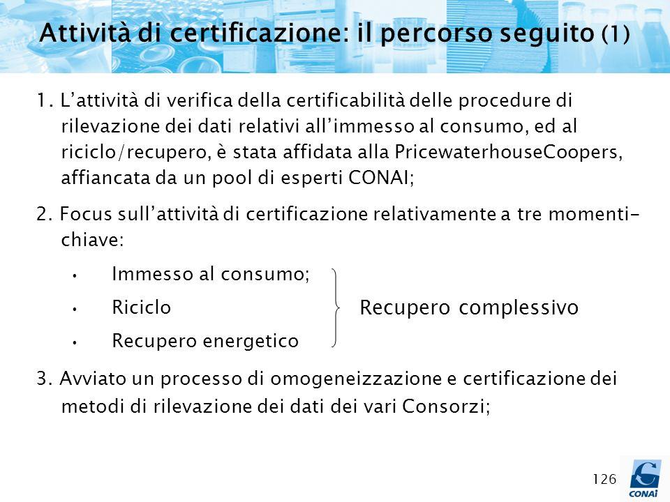 126 1. Lattività di verifica della certificabilità delle procedure di rilevazione dei dati relativi allimmesso al consumo, ed al riciclo/recupero, è s
