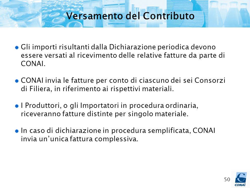 50 Versamento del Contributo Gli importi risultanti dalla Dichiarazione periodica devono essere versati al ricevimento delle relative fatture da parte