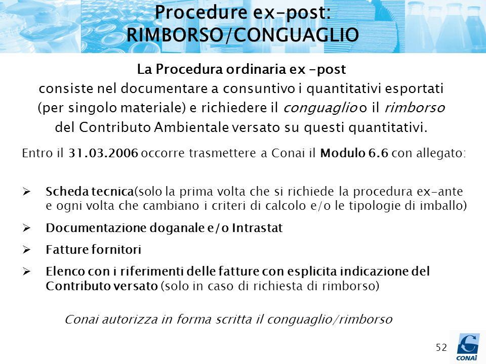 52 Procedure ex–post: RIMBORSO/CONGUAGLIO La Procedura ordinaria ex –post consiste nel documentare a consuntivo i quantitativi esportati (per singolo