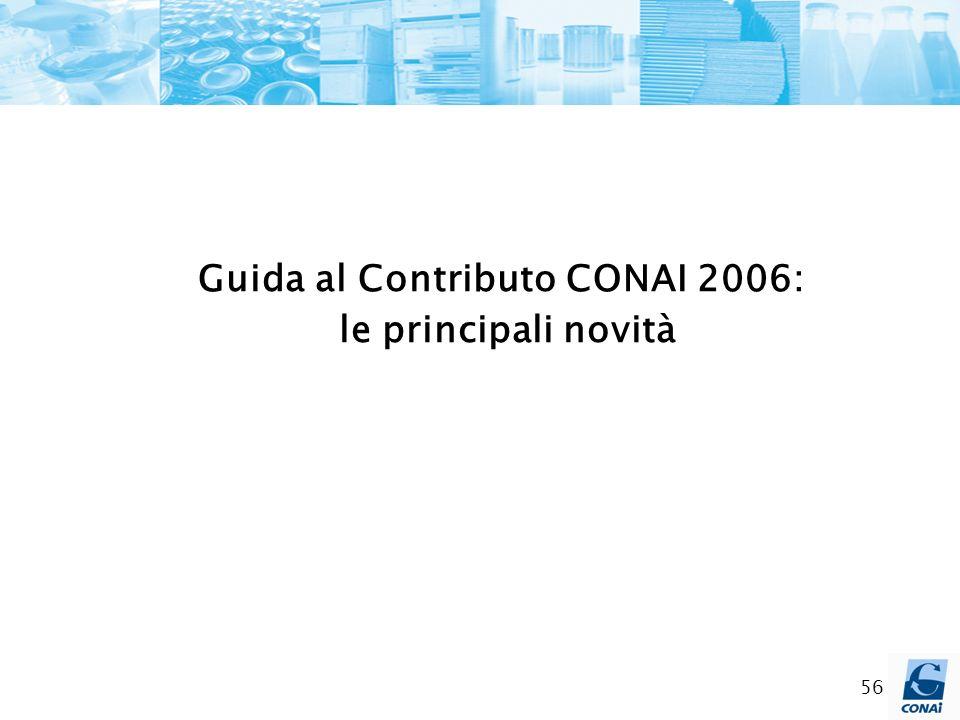 56 Guida al Contributo CONAI 2006: le principali novità
