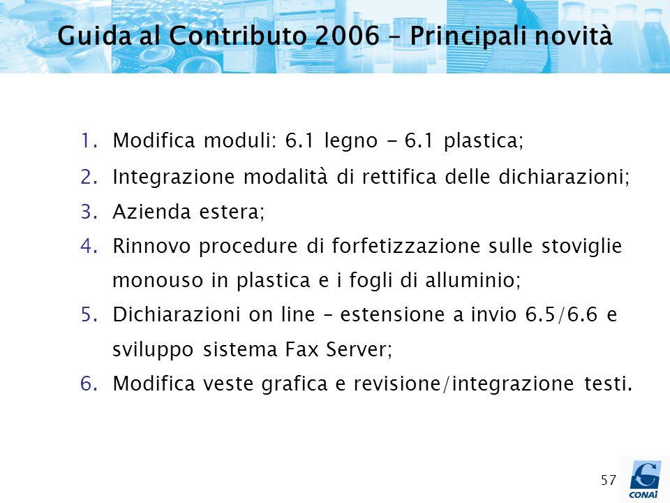 57 Guida al Contributo 2006 – Principali novità 1. Modifica moduli: 6.1 legno - 6.1 plastica; 2. Integrazione modalità di rettifica delle dichiarazion
