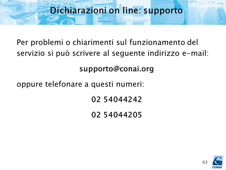 61 Per problemi o chiarimenti sul funzionamento del servizio si può scrivere al seguente indirizzo e-mail: supporto@conai.org oppure telefonare a ques