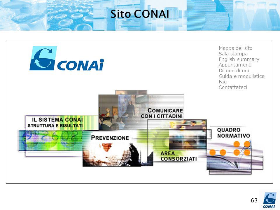 63 Sito CONAI Mappa del sito Sala stampa English summary Appuntamenti Dicono di noi Guida e modulistica Faq Contattateci