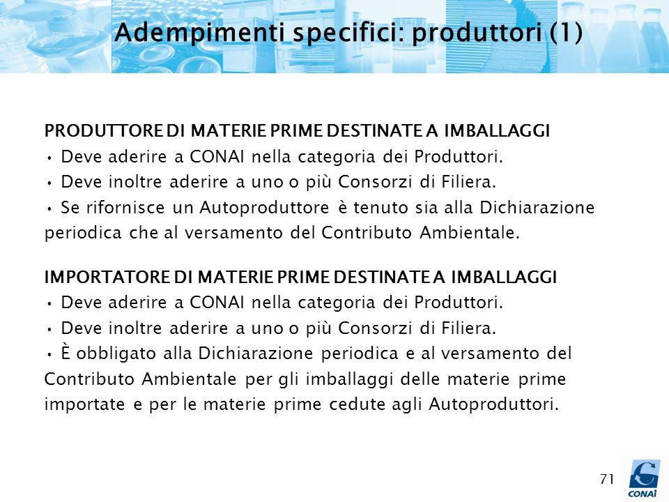 71 Adempimenti specifici: produttori (1) PRODUTTORE DI MATERIE PRIME DESTINATE A IMBALLAGGI Deve aderire a CONAI nella categoria dei Produttori. Deve