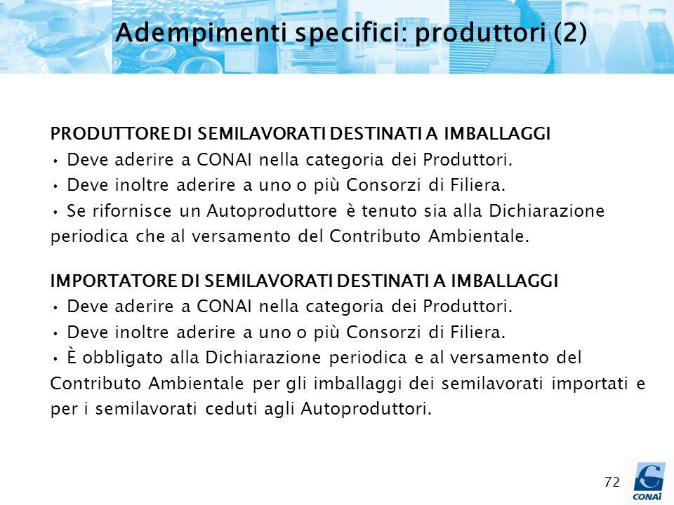 72 Adempimenti specifici: produttori (2) PRODUTTORE DI SEMILAVORATI DESTINATI A IMBALLAGGI Deve aderire a CONAI nella categoria dei Produttori. Deve i