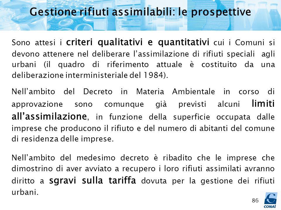 86 Gestione rifiuti assimilabili: le prospettive Sono attesi i criteri qualitativi e quantitativi cui i Comuni si devono attenere nel deliberare lassi
