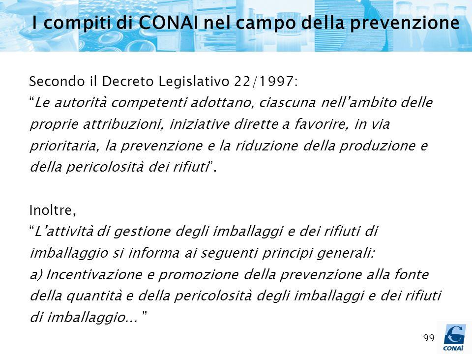 99 I compiti di CONAI nel campo della prevenzione Secondo il Decreto Legislativo 22/1997: Le autorità competenti adottano, ciascuna nellambito delle p