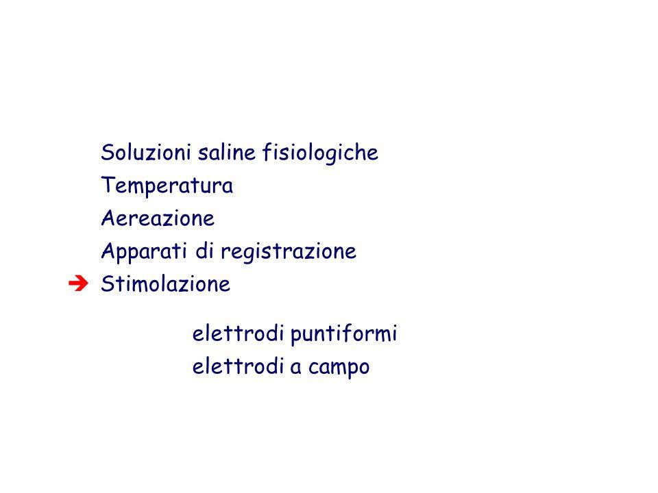 Soluzioni saline fisiologiche Temperatura Aereazione Apparati di registrazione Stimolazione elettrodi puntiformi elettrodi a campo