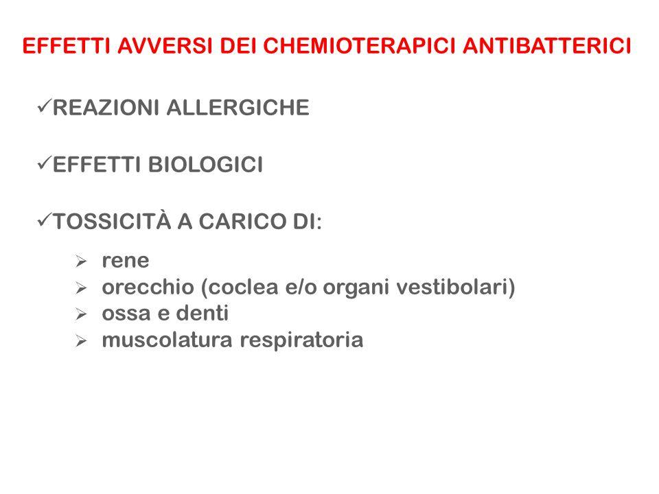EFFETTI AVVERSI DEI CHEMIOTERAPICI ANTIBATTERICI REAZIONI ALLERGICHE EFFETTI BIOLOGICI TOSSICITÀ A CARICO DI: rene orecchio (coclea e/o organi vestibo