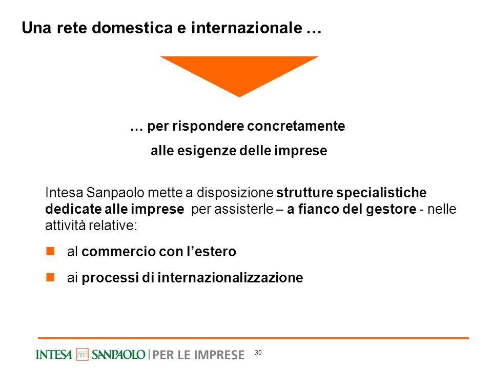 Intesa Sanpaolo mette a disposizione strutture specialistiche dedicate alle imprese per assisterle – a fianco del gestore - nelle attività relative: a