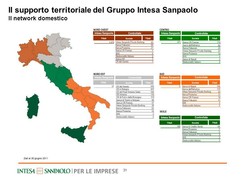 Il supporto territoriale del Gruppo Intesa Sanpaolo Il network domestico 31