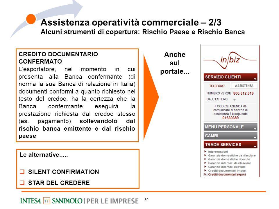 Alcuni strumenti di copertura: Rischio Paese e Rischio Banca CREDITO DOCUMENTARIO CONFERMATO Lesportatore, nel momento in cui presenta alla Banca conf