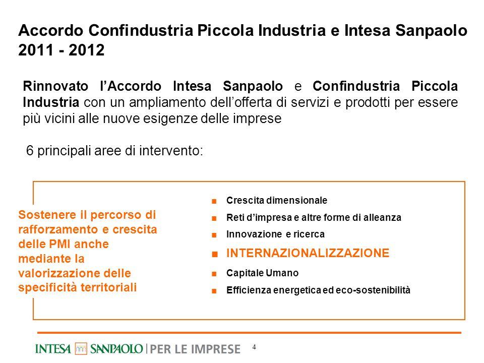 4 Accordo Confindustria Piccola Industria e Intesa Sanpaolo 2011 - 2012 Rinnovato lAccordo Intesa Sanpaolo e Confindustria Piccola Industria con un am