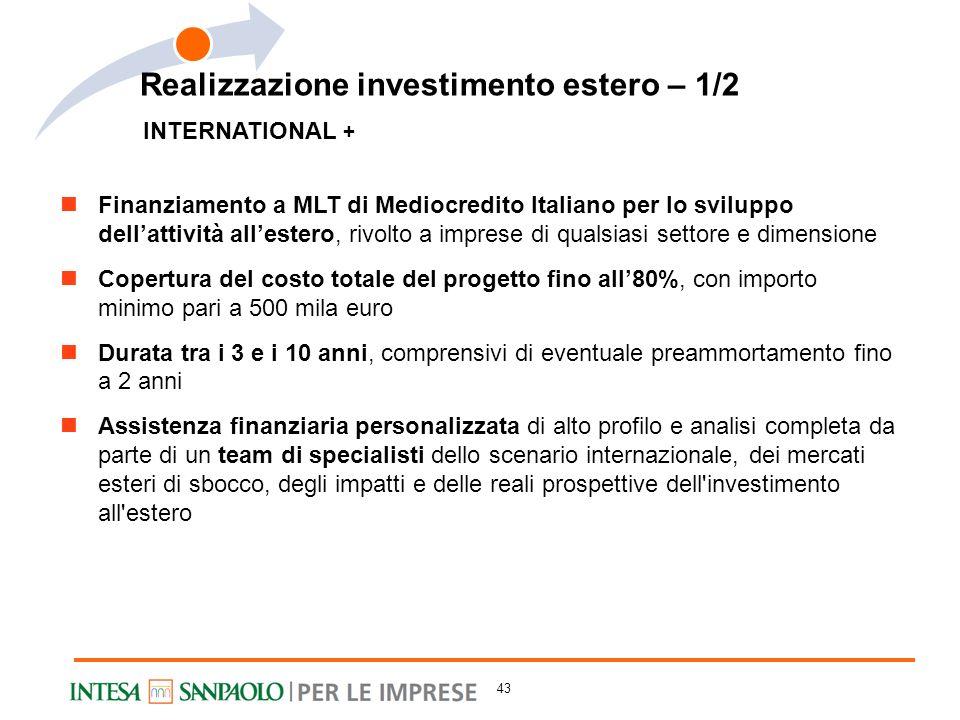 INTERNATIONAL + Finanziamento a MLT di Mediocredito Italiano per lo sviluppo dellattività allestero, rivolto a imprese di qualsiasi settore e dimensio